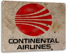 Continental Airlines Retro Logo Jet Airplane Vintage Wall Decor Metal Tin Sign