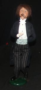 Vintage 1999 Byers Choice Carolers Victorian Man In Black Suit Tuxedo