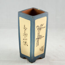 "Zisha Square Cascade Bonsai Pot And Orchid Planter - Dark Blue 3.5""x 3.5""x 8"""