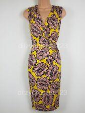BNWT Savoir Floral Print Drape Detail Faux Wrap Dress Size 24 Stretch