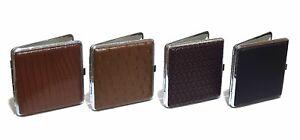 Edles 20er Zigarettenetui Zigarettencase Zigaretten Etui Box Leder Optik Braun