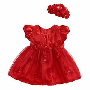 Toddler Baby Girls Red Rose Flower Princess Wedding Party Pageant T 12-24 Months