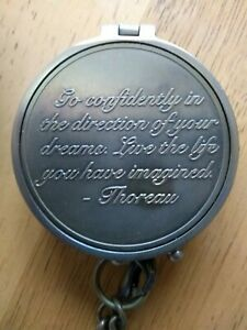 Thoreau's Go Confidently Compass in Leather Case & Hour Glass Leaving Xmas Gift