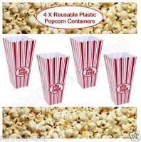 4x Reusable Novelty Plastic Popcorn Boxes Tub Carton Container Movie Party Treat