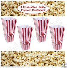4x cajas de palomitas novedad de plástico reutilizable Tina envase de cartón Película Fiesta tratar