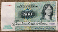 More details for denmark: 500 kroner banknote printed 1972 in xf+ condition. dkk. a4801h 5293421