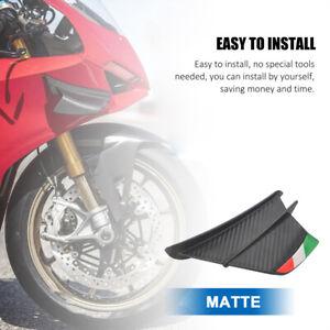 2PCS Matte Carbon Fiber Motorcycle Spoiler Side Winglets Air Deflector Wing Kit