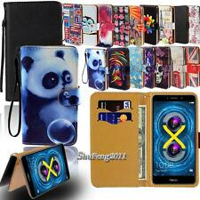 Leather Flip Card Wallet Stand Cover Case For Various Huawei SmartPhones + Strap