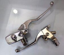 "Chrome 7/8 "" 22mm Handlebar Skull Reservoir Brake Clutch Lever Motorcycle Cafe"