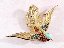 Vintage Esfinge Tono Oro Grande Pájaro Broche Con Piedras De Vidrio/Pegar/Pedrería