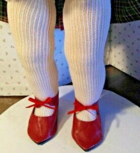 """WHITE Sidebow Custom Fit Doll Shoes For 22/"""" Saucy Walker Doll Debs"""
