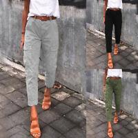 Mode Femme Pantalon Casual en vrac Ample 100% coton Poches latérale Crayon Plus