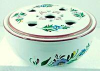 Vintage Hand Painted RCCL Portugal Porcelain Floral Bowl & Lid w/ Heart Cutouts