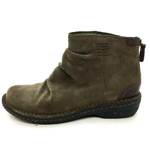 CLARKS Artisan Avington Swan Women's Sz 7.5 Suede Color Khaki Ankle Boots Shoes