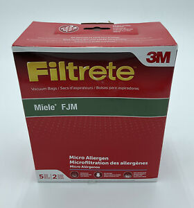 Filtrete Miele FJM Vacuum Bags with 5 Bags and 2 Filters, Micro Allergen