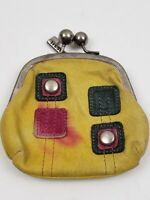 Vintage Fossil Yellow Gold Leather Change Purse w/Key