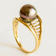 AUSTRALIAN CULTURED PEARL RING 9.8mm ABROLHOS ISLAND PEARL 14K GOLD SIZE P NEW