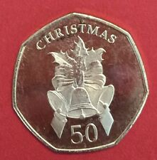2012 Gibraltar 50P Christmas Coin Bells UNC Fifty Pence ##