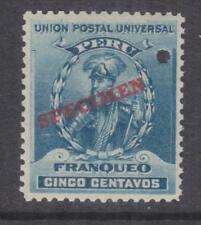 PERU, 1899 Pizarro 5c. Turquoise Blue, ABN Punched Proof, SPECIMEN in Red, mnh.