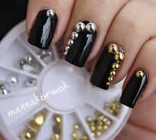 400Pcs/Box Flat Back Nail Art Metallic Studs Gold Silver Acrylic Tips Decoration