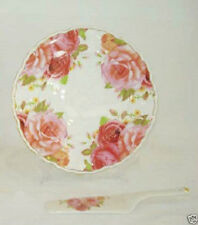 Shabby Chic Fine Bone China English Rose Cake Plate With Spatula