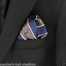 Stars & Stripes Navy Blue & Olive Mens Suit Pocket Square Handkerchief Hanky New