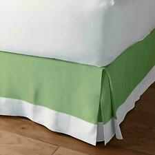 New** Two Tone Bed skirt 1000 Thread Count Pima Cotton Sage-White