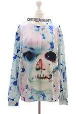 Ty-f1338 DOLL Skull Flower Rose Teschio Crazy Felpa pullover HARAJUKU