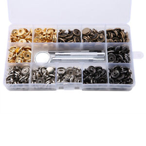 100 Sets Metal Snap Fasteners Kit Snap Buttons Press Studs Leather Bag Jacket