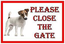 Jack Russell Shut The Gate BEWARE OF THE perro Verja Letrero