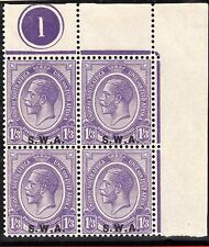 More details for kgv top right corner block of 4 control 1 with s.w.a. overprint dark violet-mint