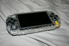 SONY PSP 1000, CLEAR HOUSING, NEW BATTERY, 64GB MEM CARD, PWR/DATA CORD & GAMES