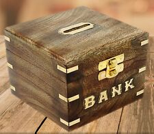 Wooden Piggy Bank, Money Safe Fun Toy for Saving and Storing Coins Cash Box