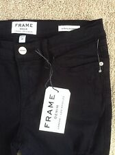 NWT FRAME DENIM $199 Le Color Rip Le Skinny Jeans Film Noir (Black)*28 waist