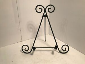 """12"""" Wrought Iron Plate Stand, Black Metal Display Rack Picture Frame Holder"""