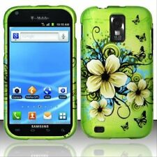 Green Flower Rubberized HARD Case Cover for T-Mobile Samsung Galaxy S II 2 T989