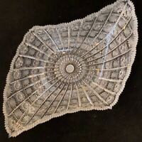 "Bohemian Czech Vintage Crystal 18"" Diamond Shape Bowl Cut Queen Lace 24% Lead"