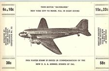 1941 Twin Motor Silverliner Airplane U.S. Airmail Poster Stamp Un-Hinged P136