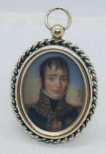 Antique Hand Painted Signed Miniature Portrait Of Man In Uniform