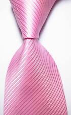 New Classic Striped Pink White JACQUARD WOVEN 100% Silk Men's Tie Necktie