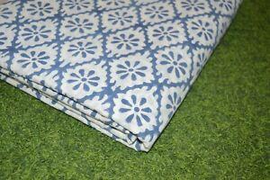 Print_1402 Indian hand-block White Blue Fabric Cotton Jaipuri Material 20 Yard