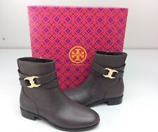 Tory Burch Gemini Link Ankle Boots Bootie Size 7 Coconut Brown Leather