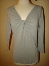 J. CREW RUCHED GRAY LOW CU BLOUSE SHIRT TOP SIZE M