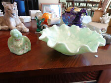 FENTON -- 1 GREEN SHELL DISH 3 IN TALL 9 IN WIDE; & 1 GREEN ANGEL 3 1/2 IN TALL
