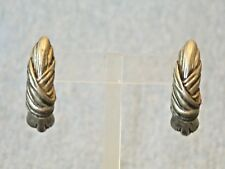 Designer Signed 1985 Seagull California Retro Pewter Dangle Pierced Earrings
