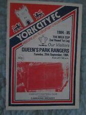 York City v QPR - Milk Cup 2nd Round 1st Leg - 25th Sept 1984