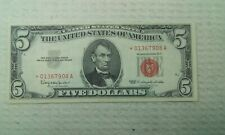 1963  $5 RED Seal Star NOTE Rare Old Five Dollar Bill Federal Reserve