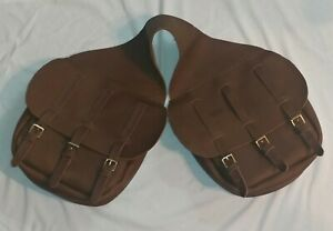 LEATHER SADDLE BAGS - Reproduction 1800's - Civil War Cavalry Western  BROWN