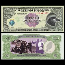 Chatham Islands 3 Dollars, Polymer, 1999/2000, UNC