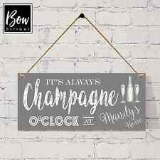 190 GREY PERSONALISED Champagne O'Clock sign - personalised GIN VODKA WINE BEER